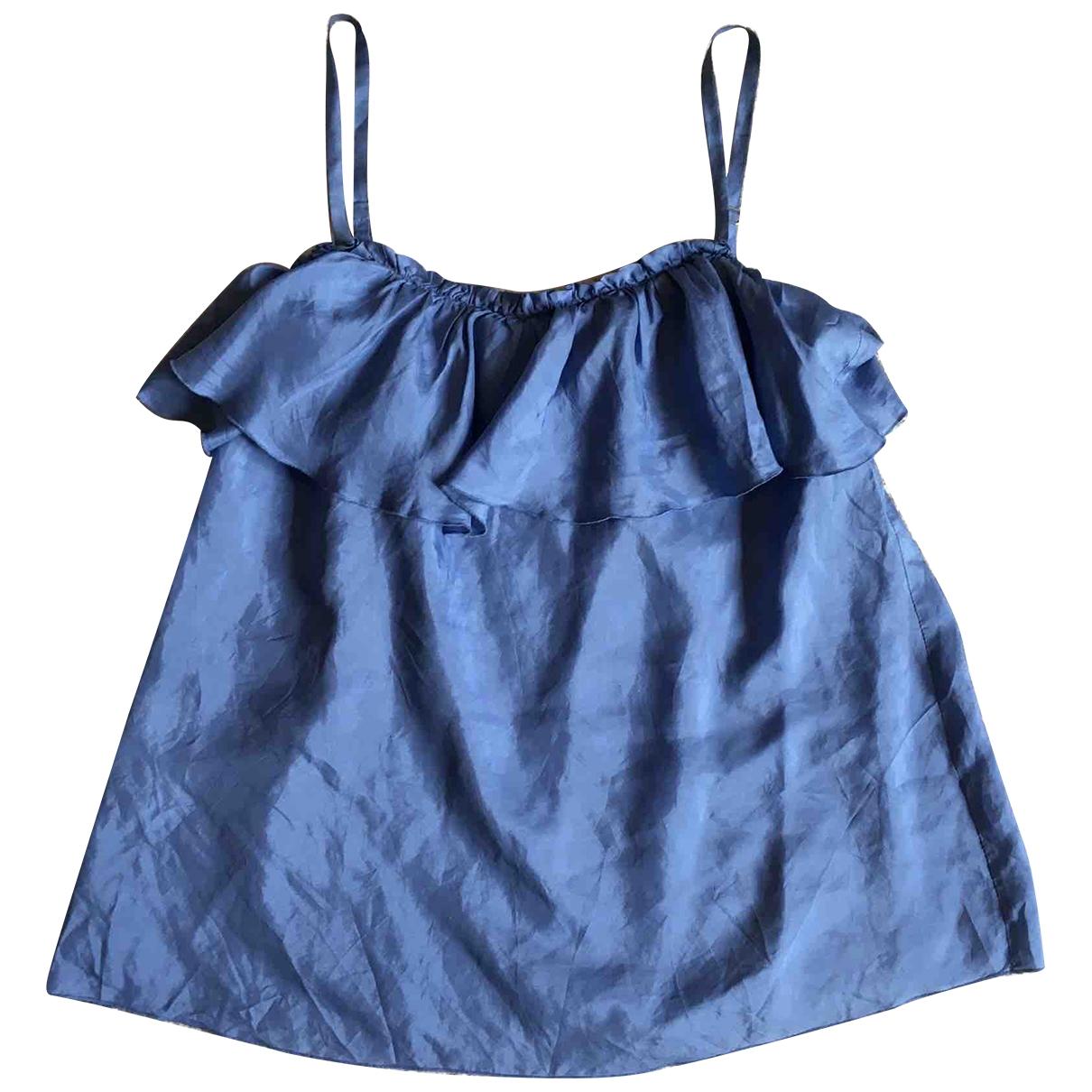 Mango - Top   pour femme en soie - bleu