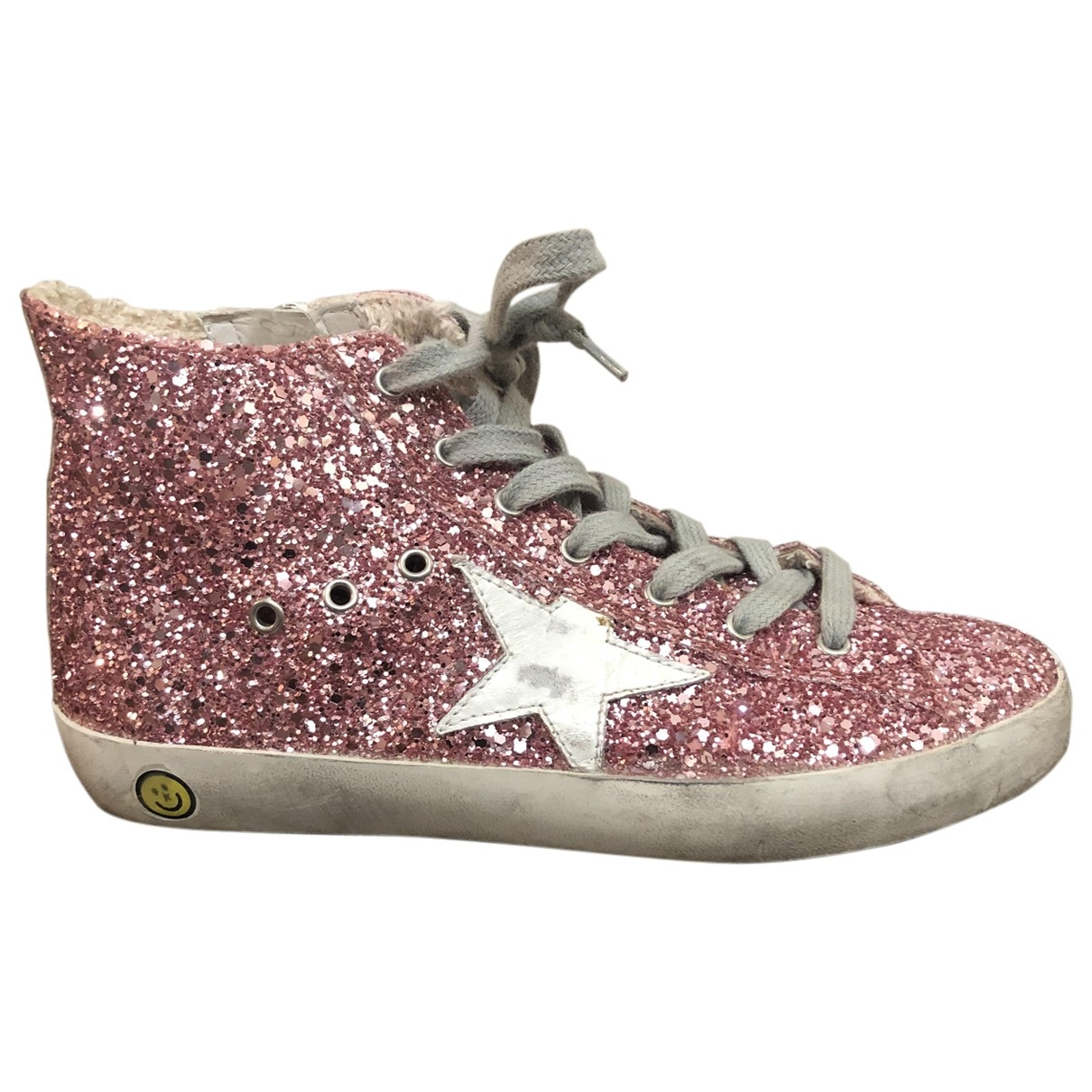 Golden Goose - Baskets Francy pour enfant en a paillettes - rose