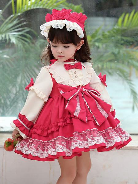 Milanoo Children\'s Sweet Lolita Dress Headwear Red Bows Polyester Lace Long Sleeve Kids One Piece Princess Dress