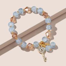 Heart Key Charm Beaded Bracelet