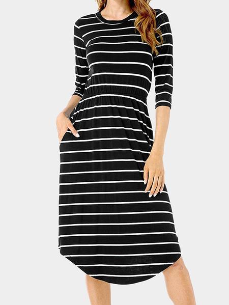 Yoins Black Stripe Pattern Round Neck 3/4 Length Sleeves Midi Dress