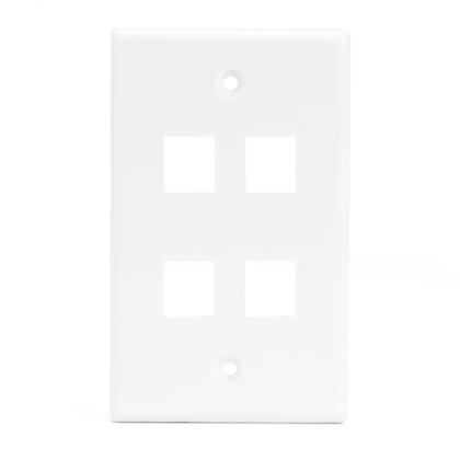 Plaque murale Keystone 4 ports pour RJ45 RJ11 RJ12 RCA type F jack - blanc - PrimeCables® - 1/paquet