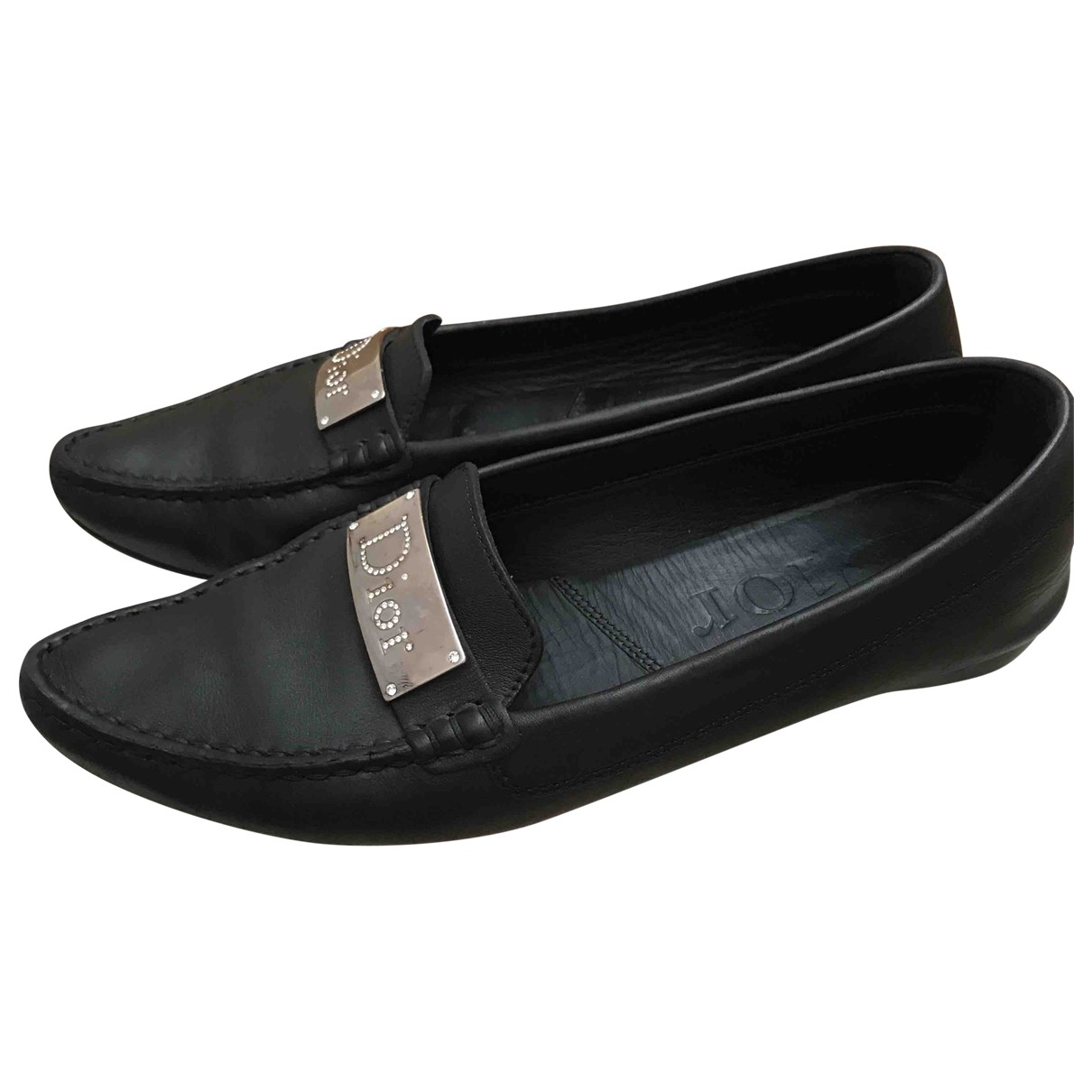 Dior \N Black Leather Flats for Women 36 EU
