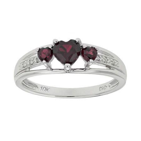 Genuine Garnet & Diamond-Accent Heart-Shaped 3-Stone 10K White Gold Ring, 7 , No Color Family