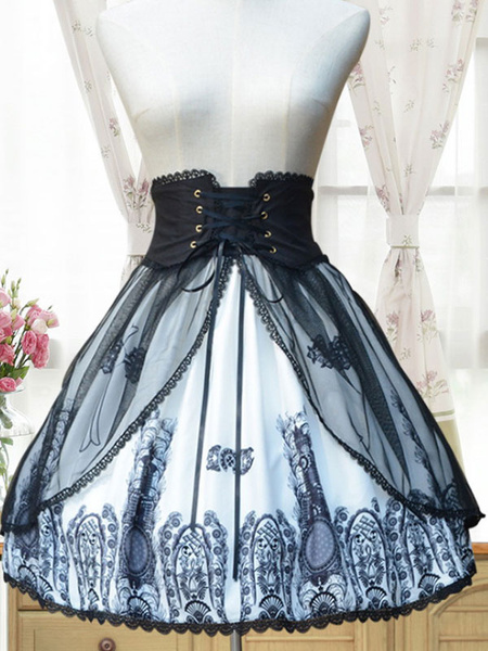Milanoo Gothic Lolita Skirt Neverland Chiffon Pleated Printed Black Lolita Bottom Original Design