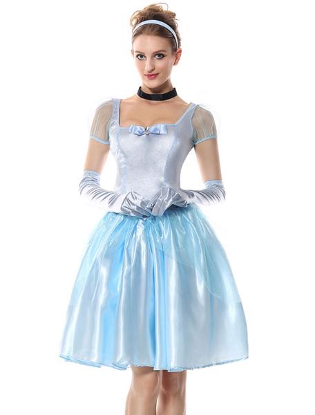 Milanoo Halloween Costume Cinderella Princess Women Light Sky Blue Dresses Outfit