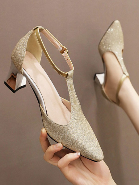 Milanoo Women Mid-Low Heels Peach T-type Ankle Strap Pointed Toe Chunky Heel Slip-On Pumps