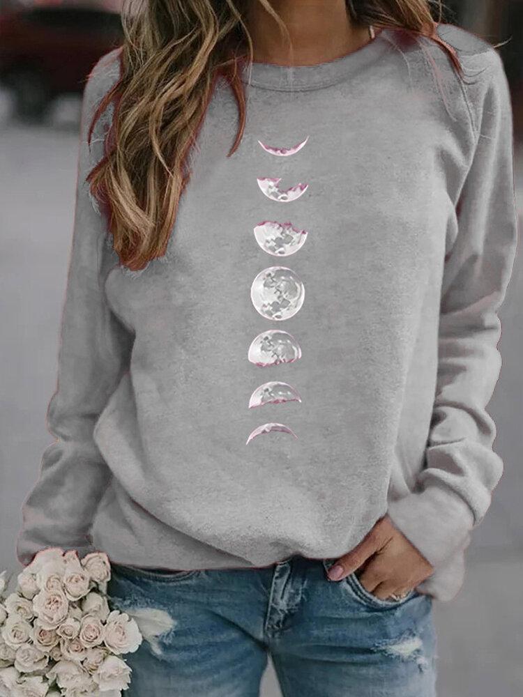 Moon Print Long Sleeve O-neck Casual Sweatshirt For Women