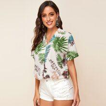 Bluse mit eingekerbtem Kragen, Knopfen vorn und tropischem Muster
