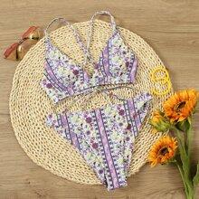 Bikini Badeanzug mit Bluemchen Muster