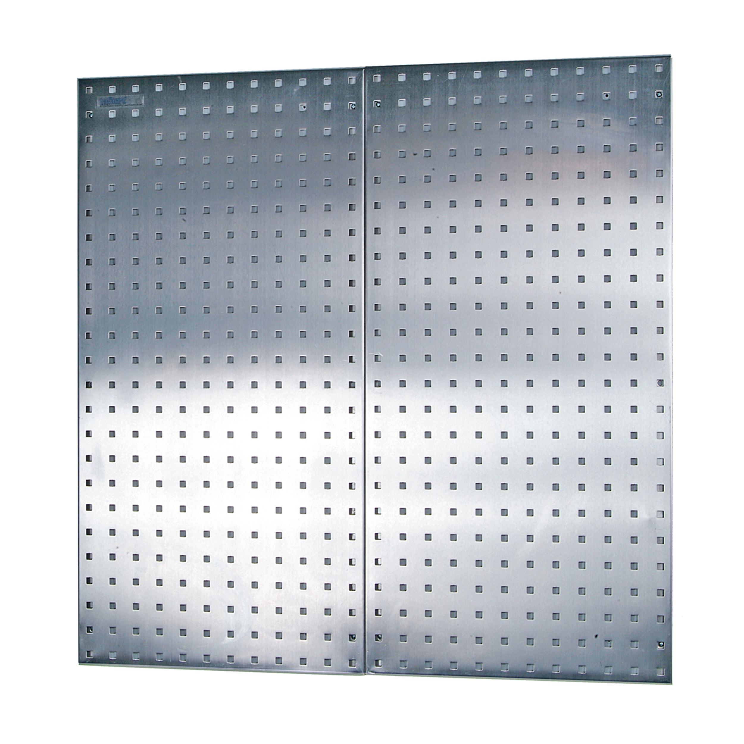 (2) 18 In. W x 36 In. H x 1/2 In. D 304 Stainless Steel Square Hole Pegboards with Wall Mounting Hardware
