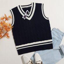 Contrast Striped Trim Cable Knit Sweater Vest