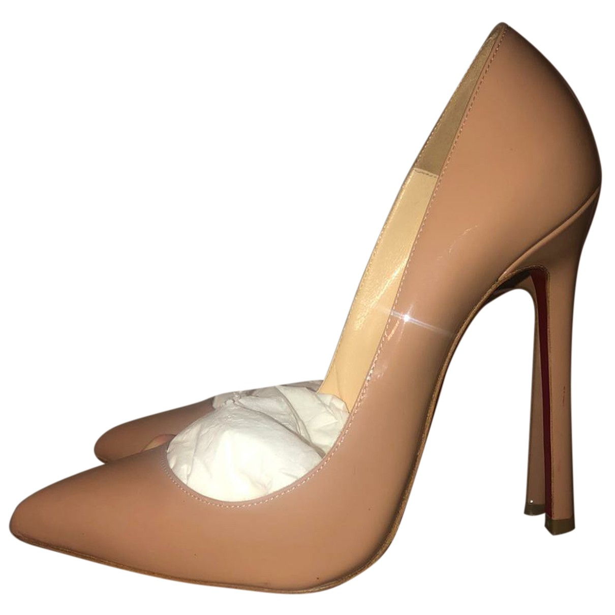 Christian Louboutin So Kate  Beige Patent leather Heels for Women 37.5 EU