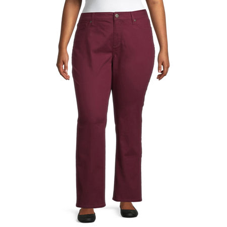 St. John's Bay Womens Mid Rise Stretch Straight Leg Jean, 24w Long , Red