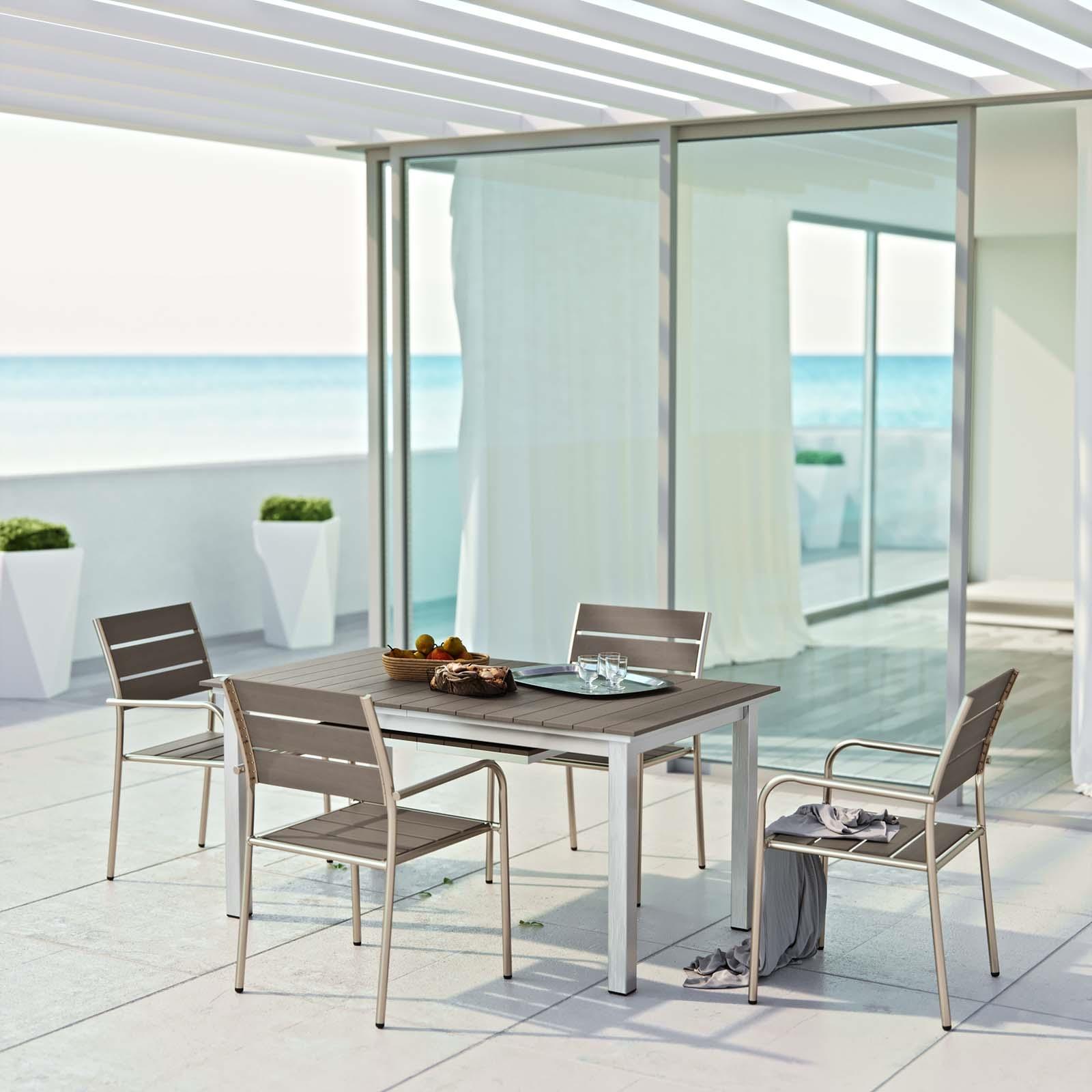 Shore 5 Piece Outdoor Patio Aluminum Outdoor Dining Set in Silver Gray