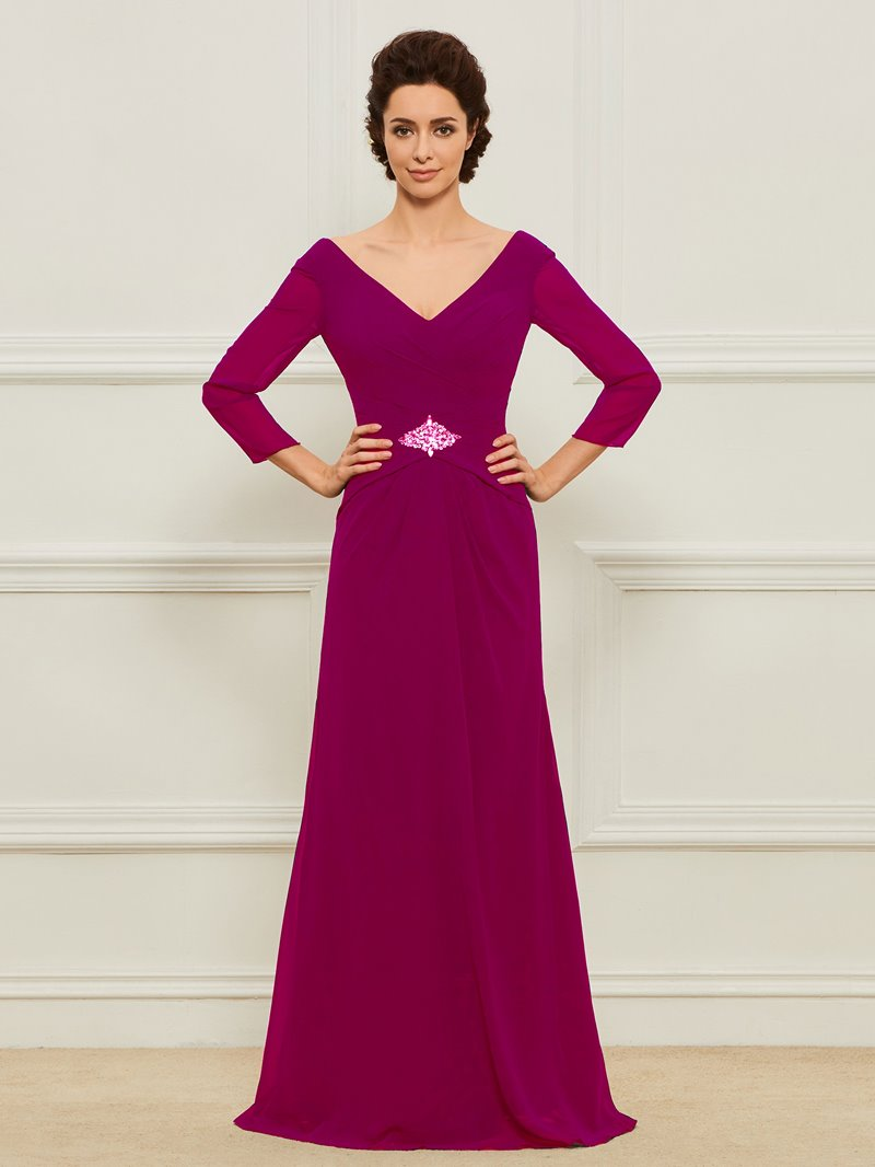 Ericdress V Neck A Line Mother Dress with Sleeves