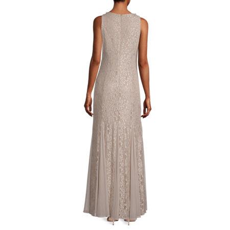 R & M Richards Sleeveless Evening Gown, 8 , Beige