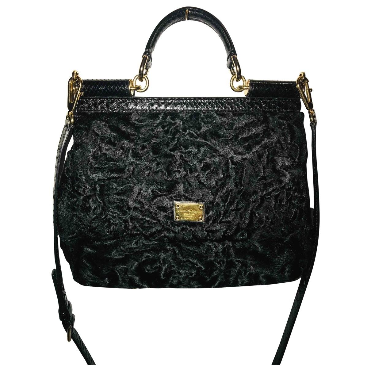 Dolce & Gabbana Sicily Handtasche in  Schwarz Mongolisches Lamm