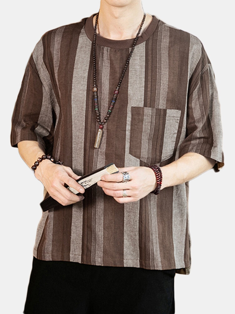 Mens 100% Cotton Oriental Ethnic Vertical Stripe Half Sleeve T-Shirt