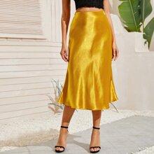 Solid A-line Satin Longline Skirt