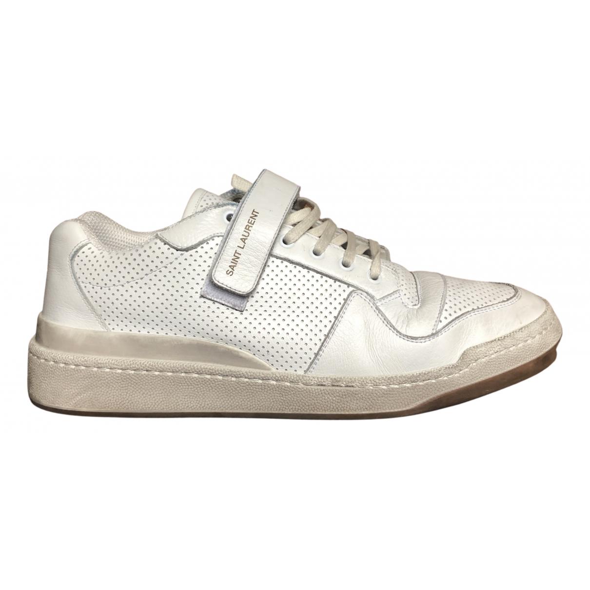 Saint Laurent - Baskets SL24 pour homme en cuir - blanc