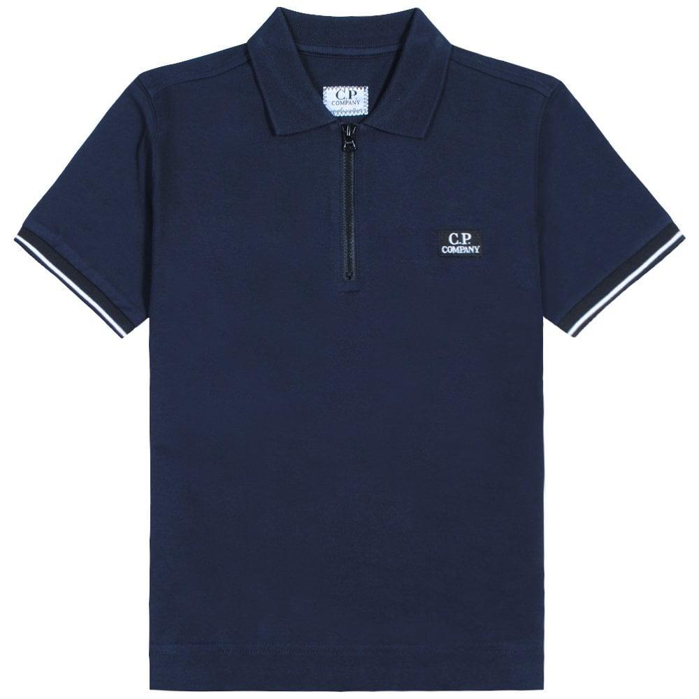 C.p. Company C.P Company Kids Zip-top Polo Colour: NAVY, Size: 14 YEARS