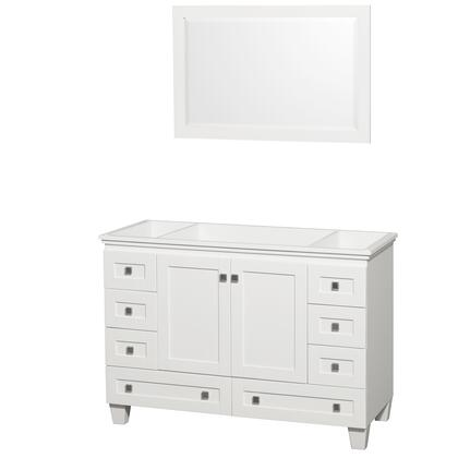 WCV800048SWHCXSXXM24 48 in. Single Bathroom Vanity in White  No Countertop  No Sink  and 24 in.