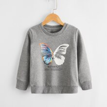 Toddler Boys Butterfly And Letter Graphic Sweatshirt
