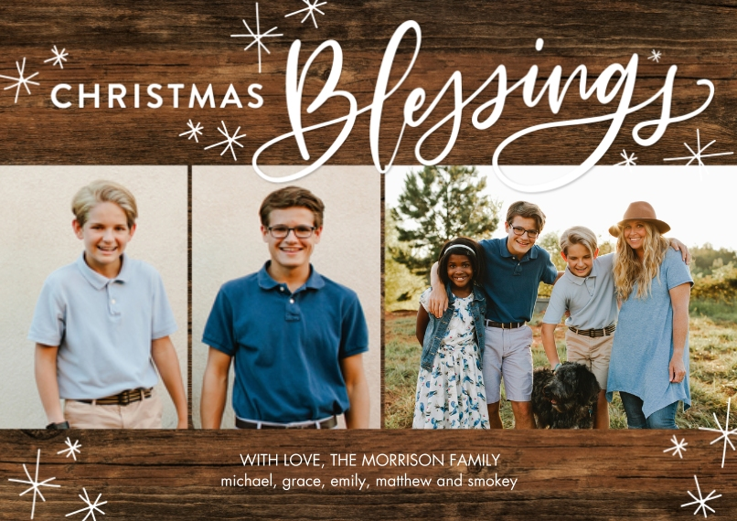Christmas Photo Cards 5x7 Cards, Premium Cardstock 120lb with Scalloped Corners, Card & Stationery -Christmas Blessings by Tumbalina