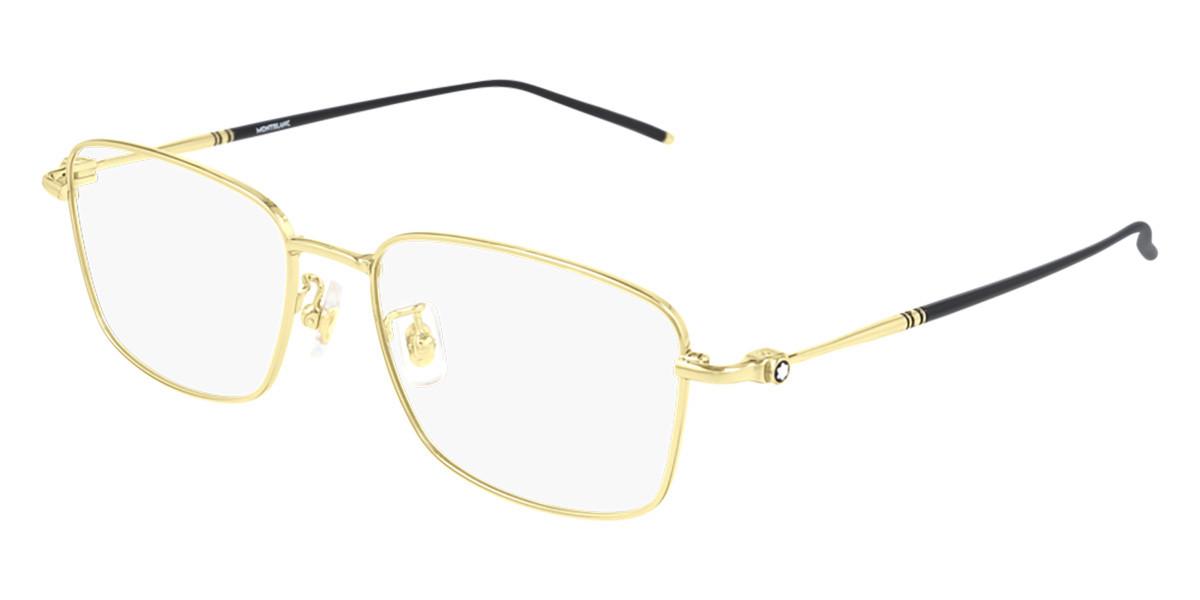 Mont Blanc MB0140OK Asian Fit 002 Men's Glasses Gold Size 54 - Free Lenses - HSA/FSA Insurance - Blue Light Block Available
