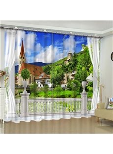European Buildings and Green Mountains Printed Polyester Custom Living Room Curtain