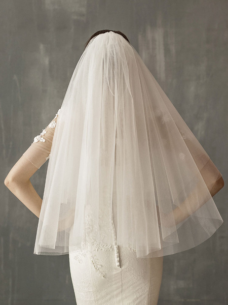 Milanoo Wedding Veil Two Tier Tulle Cut Edge Drop Bridal Veil