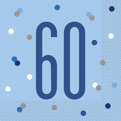 Serviettes déjeuner Anniversaire Glitz bleu et argent, 16mcx - 60 ans