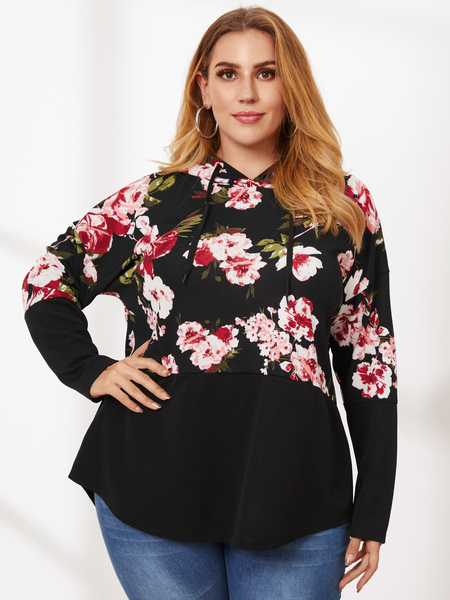 YOINS Plus Size Pullover Hooded Design Tie-up Design Long Sleeves Sweatshirt