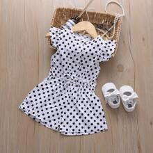 Toddler Girls Drawstring Polka Dot Ruffle Armhole Romper