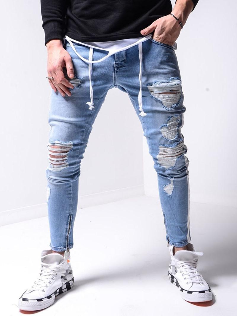 Ericdress Hole Pencil Pants Zipper Sports Jeans