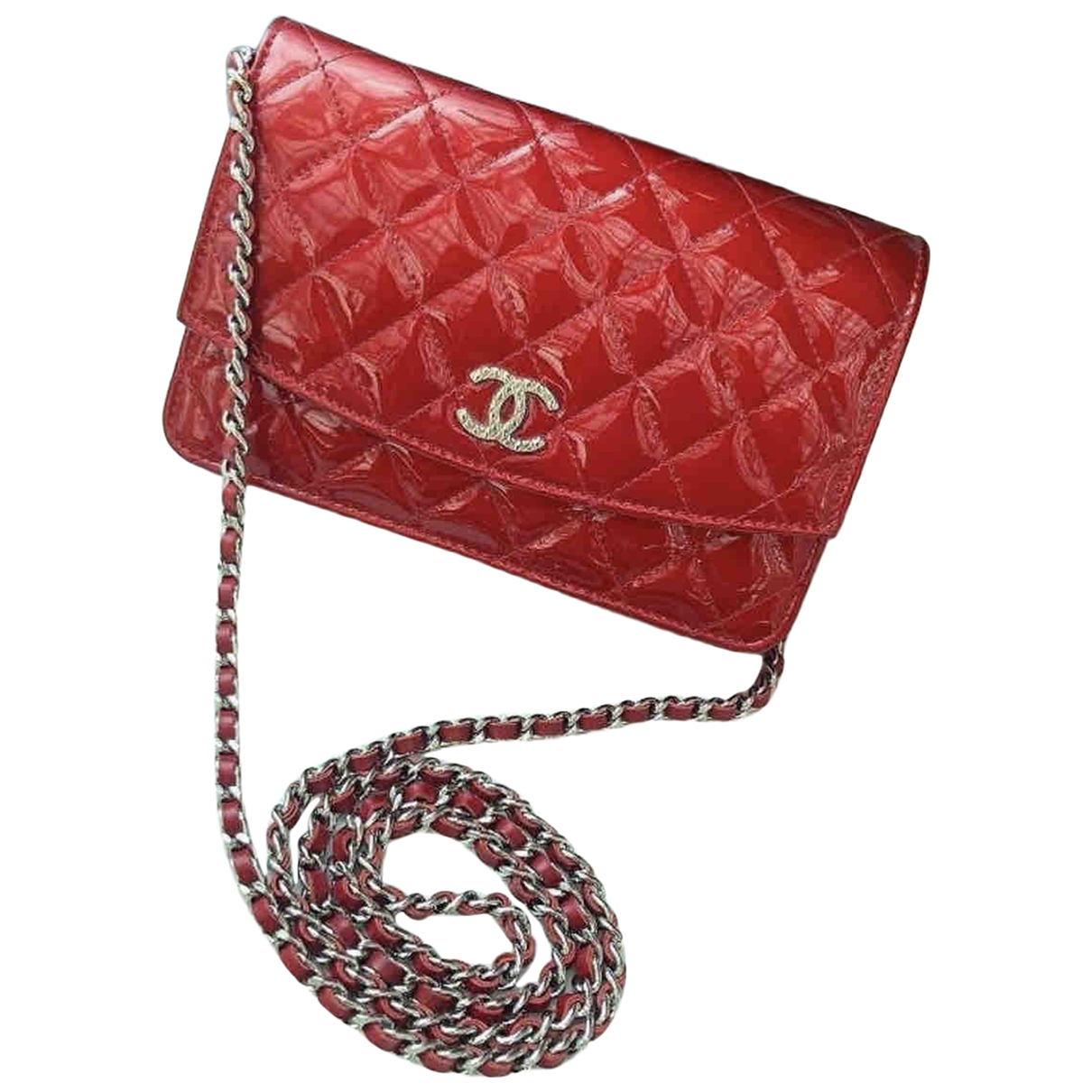 Chanel Wallet on Chain Red Patent leather handbag for Women N