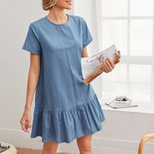 Keyhole Back Ruffle Hem Smock Dress