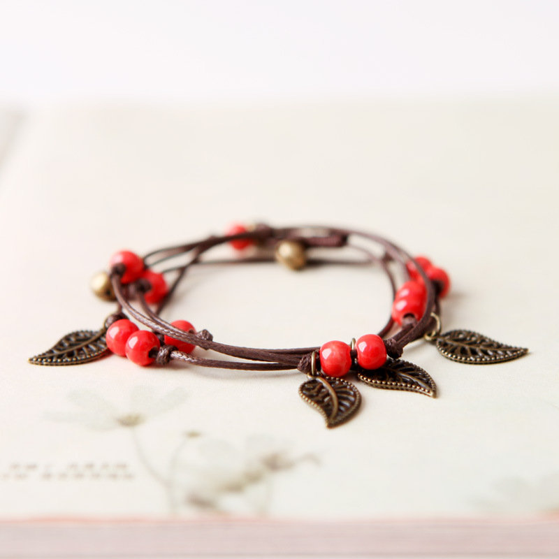 Vintage Charm Bracelet Wax Rope Ceramics Leaves Small Bell Charm Bracelet Ethnic Jewelry for Women