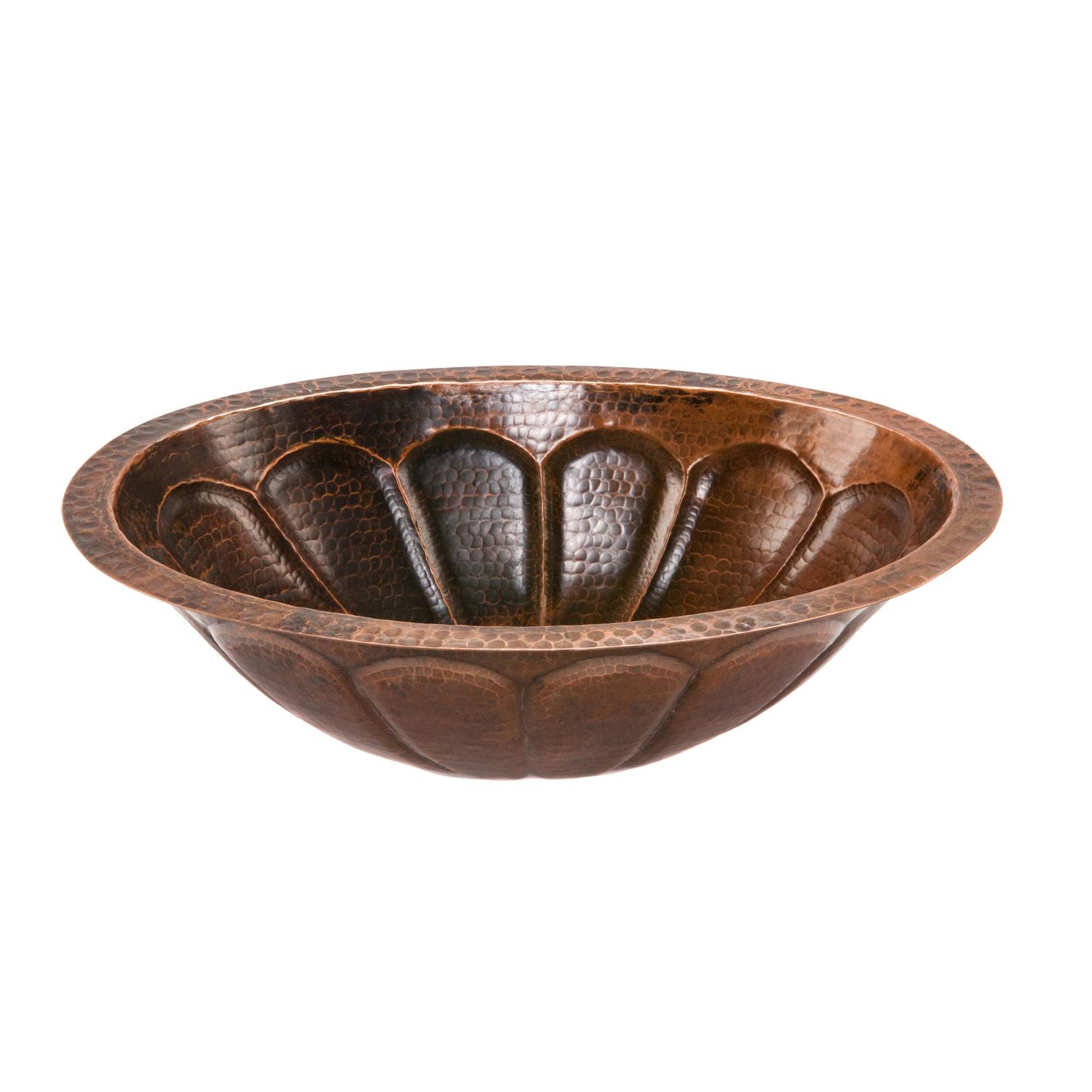 Oval Sunburst Under Counter Hammered Copper Sink