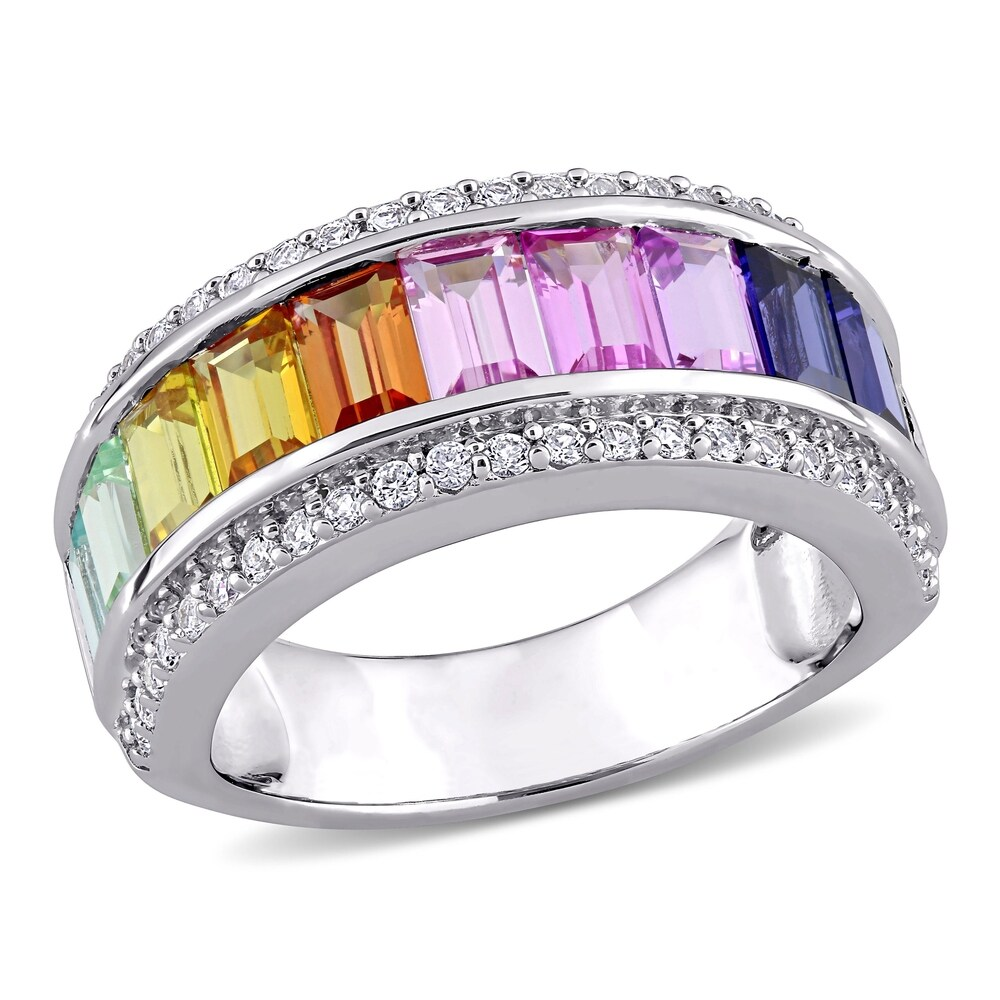 Multi-Color Created Sapphire Anniversary Band in Sterling Silver by Miadora (5.5)