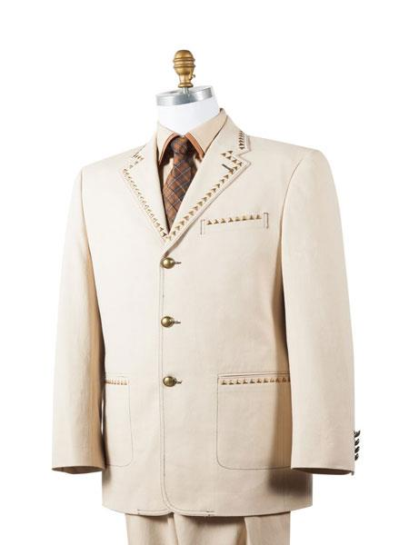 Mens Lined Brass Arrow Accents 2pc Taupe Zoot Suit and Pants