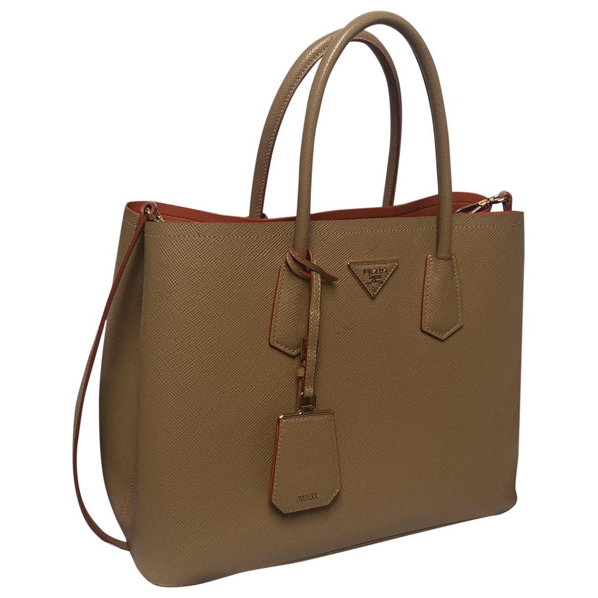 Prada Double Beige Leather handbag for Women \N