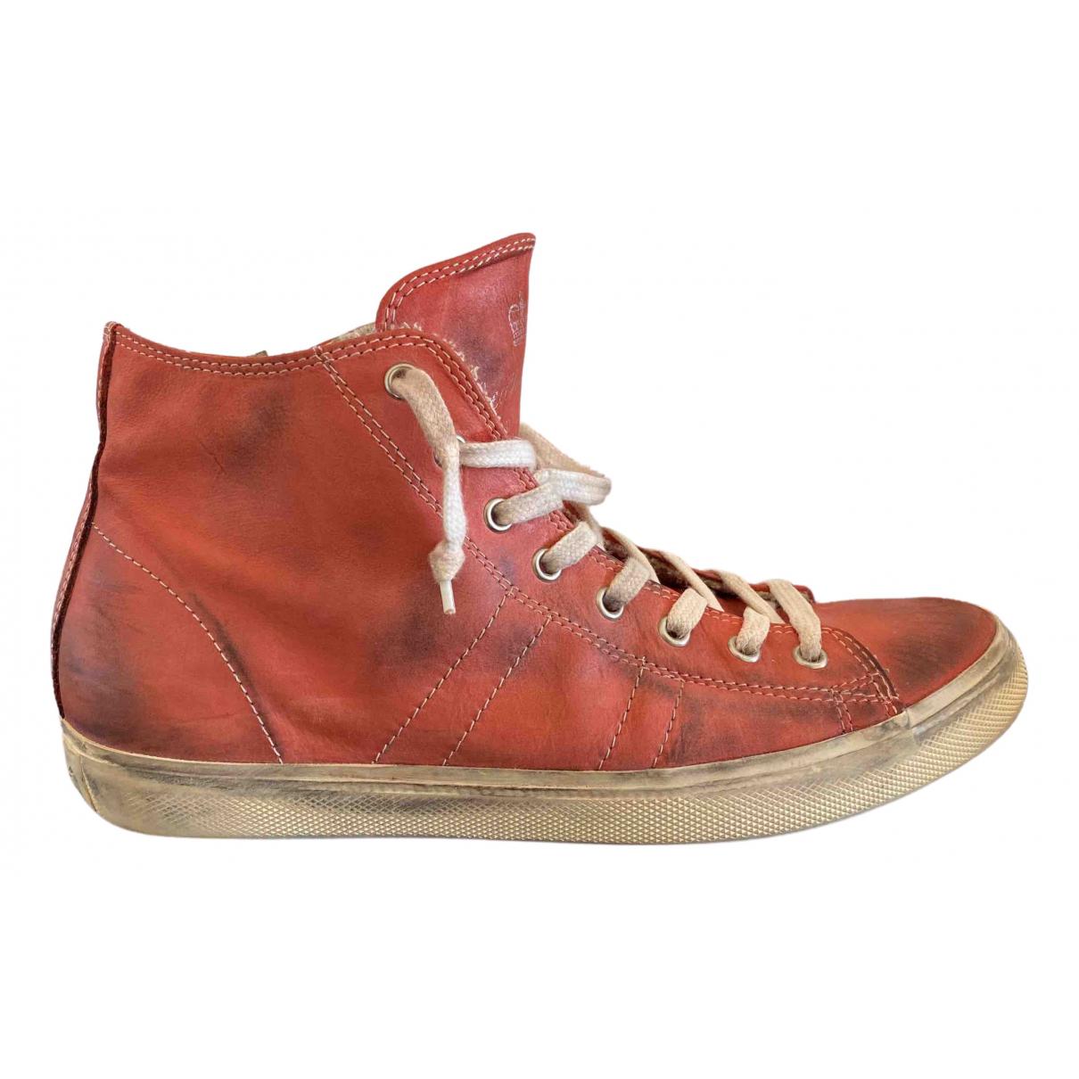 Leather Crown \N Sneakers in  Rot Leder