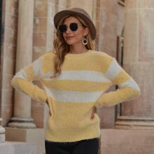 Color Block Fuzzy Knit Sweater