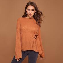 Drop Shoulder Buckle Strap Sweater