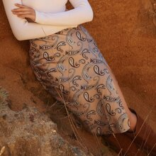 Split Thigh Paisley Print Skirt