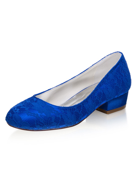 Milanoo Lace Wedding Shoes Blue Round Toe Chunky Heel Wedding Guest Shoes