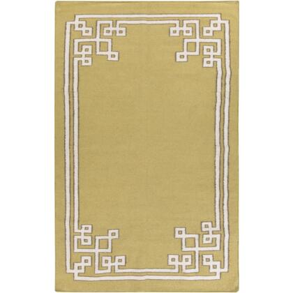 AMD1021-58 5' x 8' Rectangular Alameda Reversible 100% Wool Rug with No Pile and Hand Woven in India in Olive and