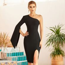 Adyce One Shoulder Split Sleeve Bandage Dress